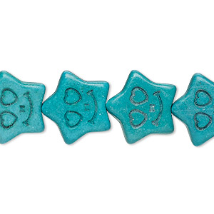 bead, turquoise (imitation), dark teal green, 16x16mm carved flat star. sold per 15-inch strand.