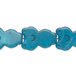 bead, turquoise (imitation), dark teal green, 22x15mm carved flat frog. sold per 15-inch strand.