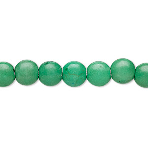 bead, turquoise (imitation), kelly green, 7-8mm puffed flat round. sold per 16-inch strand.