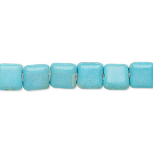 bead, turquoise (imitation), light blue, 8x8mm flat square. sold per 15-inch strand.