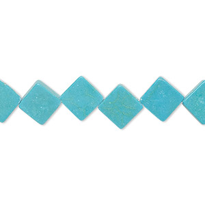 bead, turquoise (imitation), teal, 10x10mm-11x10mm flat diamond. sold per 15-inch strand.