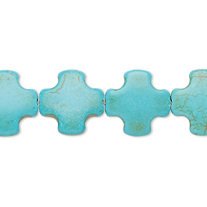 bead, turquoise (imitation), teal, 15x15mm puffed swiss cross. sold per 15-inch strand.