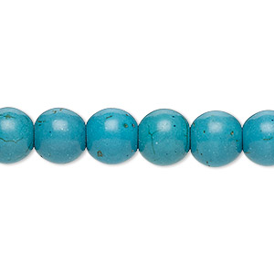 bead, turquoise (imitation), teal blue, 9-10mm round. sold per 15-inch strand.