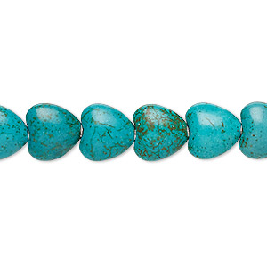 bead, turquoise (imitation), teal green, 10x10mm puffed heart. sold per 15-inch strand.