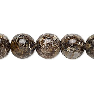 bead, turritella agate (stabilized), 12mm round, b grade, mohs hardness 6-1/2 to 7. sold per 16-inch strand.