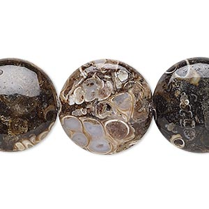 bead, turritella agate (stabilized), 20mm puffed flat round, b grade, mohs hardness 6-1/2 to 7. sold per 16-inch strand.