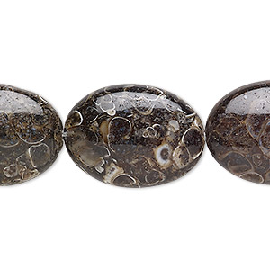bead, turritella agate (stabilized), 25x18mm flat oval, b grade, mohs hardness 6-1/2 to 7. sold per 8-inch strand, approximately 5 beads.