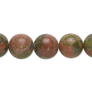 bead, unakite (natural), 12mm round with 0.5-1.5mm hole, b grade, mohs hardness 6 to 7. sold per 16-inch strand.