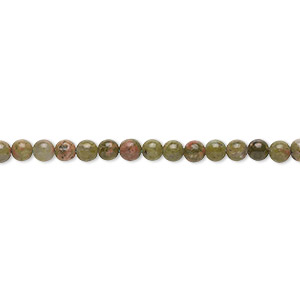 bead, unakite (natural), 3mm round, b grade, mohs hardness 6 to 7. sold per 16-inch strand.