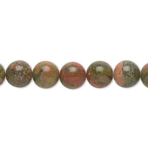 bead, unakite (natural), 8mm round with 0.5-1.5mm hole, b grade, mohs hardness 6 to 7. sold per 16-inch strand.