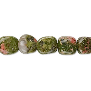 bead, unakite (natural), medium pebble with 0.5-1.5mm hole, mohs hardness 6 to 7. sold per 16-inch strand.