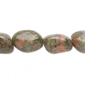 bead, unakite (natural), medium tumbled nugget with 0.5-1.5mm hole, mohs hardness 6 to 7. sold per 16-inch strand.