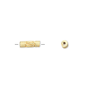 bead, vermeil, 10x3mm tube. sold per pkg of 12.