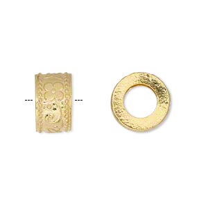 bead, vermeil, 12x7mm rondelle, 6mm hole. sold per pkg of 2.
