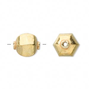 bead, vermeil, 14x12mm hexagon. sold per pkg of 2.