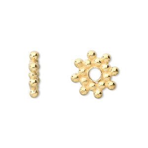 bead, vermeil, 14x3mm snowflake rondelle. sold per pkg of 2.