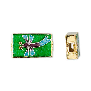 bead, vermeil cloisonne, multicolored, 21x12mm rectangle with dragonfly. sold individually.