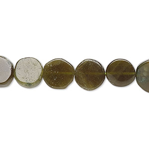 bead, vesuvianite (natural), 7-9mm hand-cut flat round, c grade, mohs hardness 6-1/2. sold per 13-inch strand.
