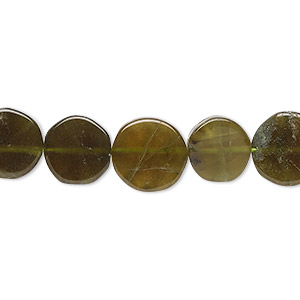 bead, vesuvianite (natural), 9-12mm hand-cut flat round, c grade, mohs hardness 6-1/2. sold per 13-inch strand.