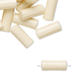 bead, vintage german acrylic, light peach, 16x7mm round tube. sold per pkg of 24.