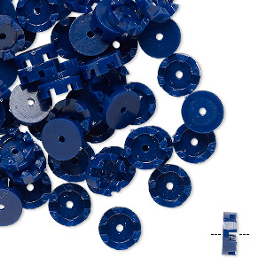 bead, vintage german acrylic, navy blue, 7.5mm scalloped round. sold per pkg of 100.