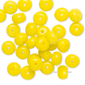 bead, vintage german pressed glass, opaque sun yellow, 8x5mm-8x6mm rondelle. sold per pkg of 30.