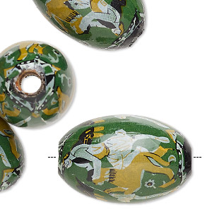 bead, vintage german wood (coated) and paper, green and multicolored, 30x20mm oval with person riding a lion design. sold per pkg of 6.