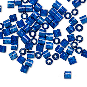 bead, vintage german wood (dyed / coated), blue, 4x4mm round tube. sold per pkg of 100.