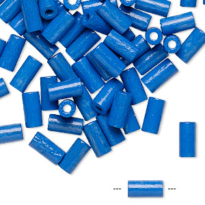 bead, vintage german wood (dyed / coated), blue, 8x4mm round tube. sold per pkg of 100.