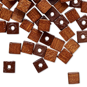 bead, vintage german wood (dyed / coated), brown, 6mm cube with 1.5-2mm hole. sold per pkg of 100.