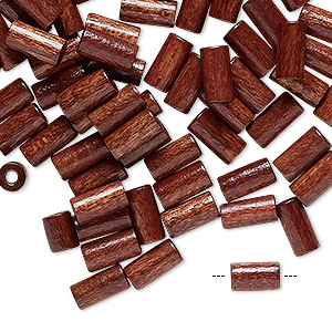 bead, vintage german wood (dyed / coated), dark brown, 8x4mm round tube. sold per pkg of 100.