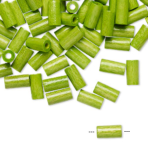 bead, vintage german wood (dyed / coated), green, 8x4mm round tube. sold per pkg of 100.