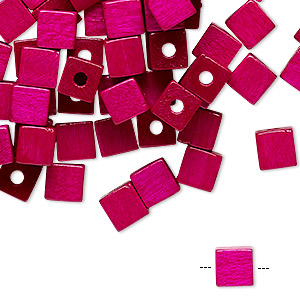 bead, vintage german wood (dyed / coated), magenta, 6x6mm cube. sold per pkg of 100.