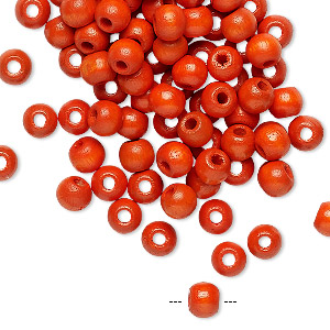 bead, vintage german wood (dyed / coated), orange, 4mm round. sold per pkg of 100.
