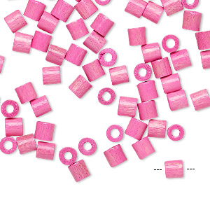 bead, vintage german wood (dyed / coated), pink, 4x4mm round tube. sold per pkg of 100.