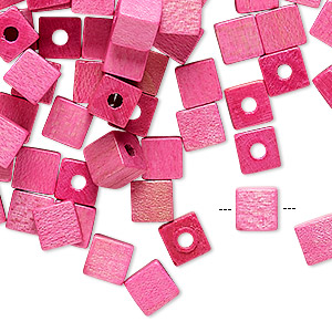 bead, vintage german wood (dyed / coated), pink, 6x6mm cube. sold per pkg of 100.