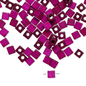bead, vintage german wood (dyed / coated), purple, 4x4mm cube. sold per pkg of 100.