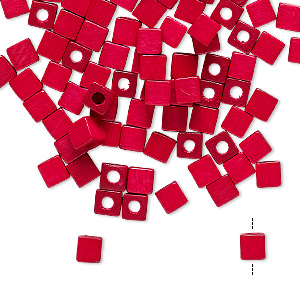 bead, vintage german wood (dyed / coated), red, 4x4mm cube. sold per pkg of 100.