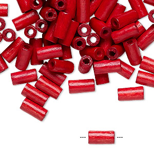 bead, vintage german wood (dyed / coated), red, 8x4mm round tube. sold per pkg of 100.