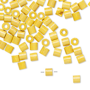 bead, vintage german wood (dyed / coated), sun yellow, 4x4mm round tube. sold per pkg of 100.