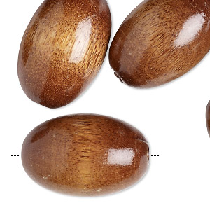 bead, vintage german wood (natural), 30x20mm oval with 4-5mm hole. sold per pkg of 12.