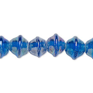 bead, vintage india glass, translucent luster blue, 10x8mm-12x10mm fancy saucer with 2mm hole. sold per 16-inch strand.