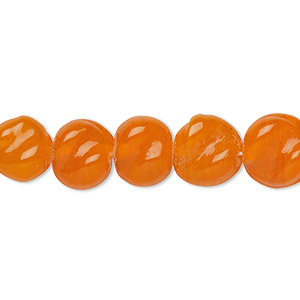 bead, vintage india glass, translucent orange, 9-11mm twisted flat round. sold per 18-inch strand.