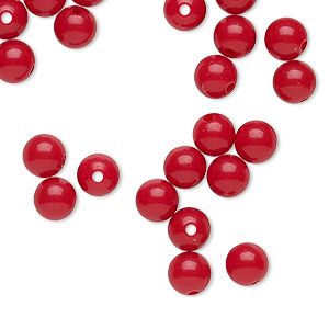 bead, vintage japanese acrylic, red, 5-6mm round. sold per pkg of 65.