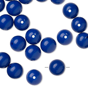 bead, vintage japanese acrylic, royal blue, 8mm round. sold per pkg of 50.