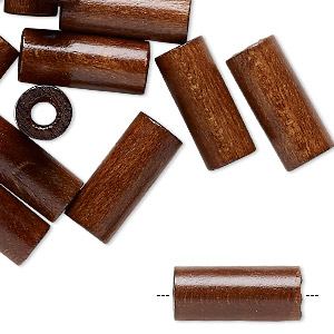bead, vintage japanese wood (dyed / coated), dark brown, 19x8mm round tube. sold per pkg of 24.
