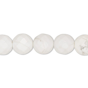 bead, white howlite (natural), 10mm faceted round, b grade, mohs hardness 3 to 3-1/2. sold per 16-inch strand.