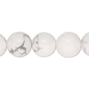 bead, white howlite (natural), 12mm round, b grade, mohs hardness 3 to 3-1/2. sold per 16-inch strand.