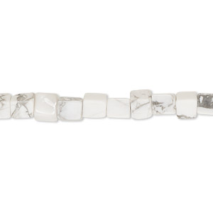bead, white howlite (natural), 4mm cube, b grade, mohs hardness 3 to 3-1/2. sold per 16-inch strand.