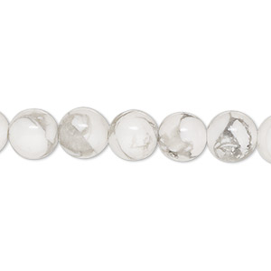 bead, white howlite (natural), 8mm round, b grade, mohs hardness 3 to 3-1/2. sold per 16-inch strand.